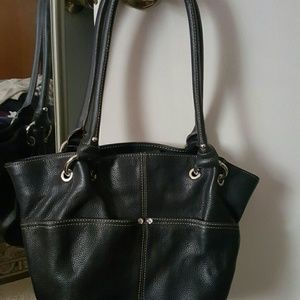 Black leather Tignanello shoulder bag